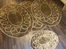 ROMANY WASHABLES OVAL DESIGN SETS OF 4 MATS XLARGE SIZE 100X140CM LIGHT BROWN